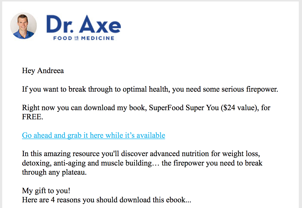 Dr axe email marketing example