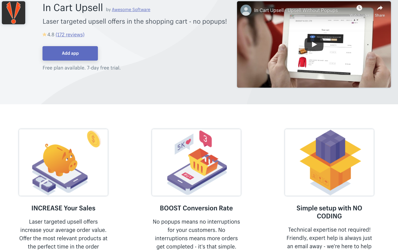 Incart upsell shopify app